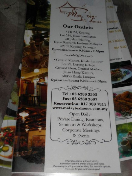 Malay tea house menu
