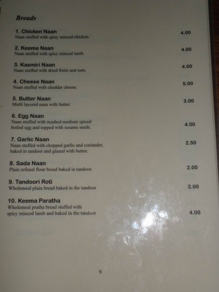 naan menu